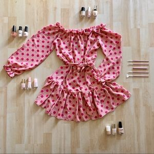 NWT Pink Polka Dot Bardot Tie Waist Shift Dress